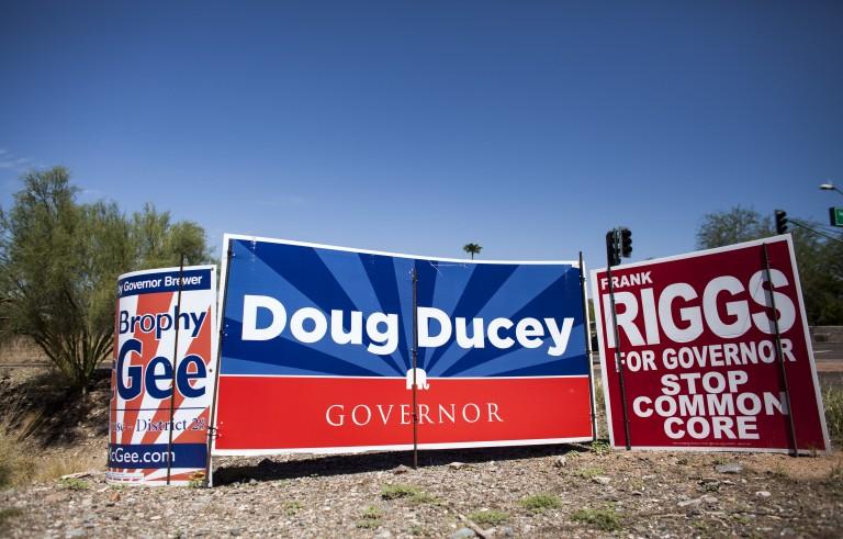 Political signs in Arizona. Photo by Samantha Sais/Reuters