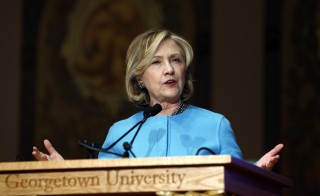 "Former U.S. Secretary of State Hillary Clinton speaks on ""Smart Power: Security Through Inclusive Leadership"" at Georgetown University in Washington Dec. 3,  2014. Family foundation may pose a threat to her anticipated 2016 presidential campaign. Photo by Kevin Lamarque/REUTERS."