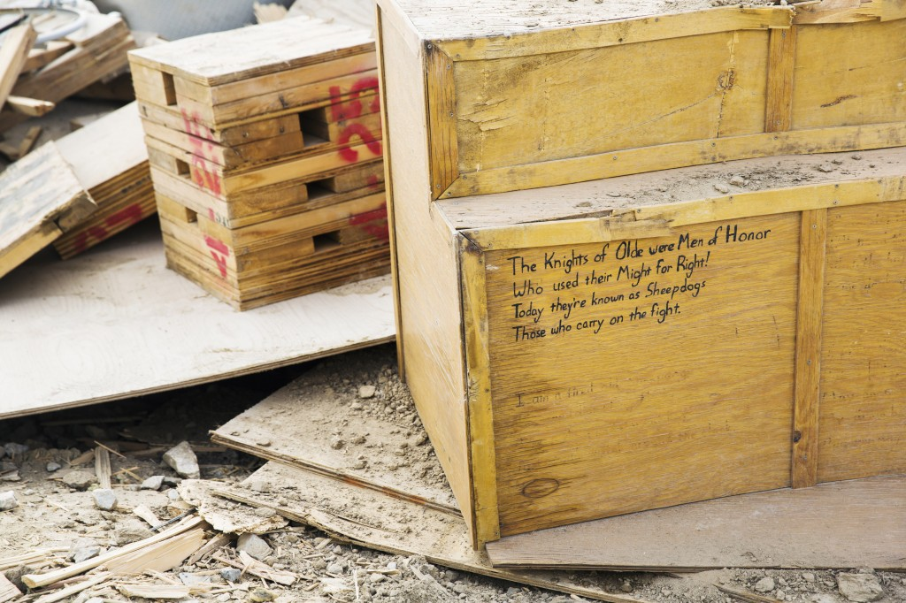 photo essay remnants of the trillion dollar war in  a message is scrawled on debris left over from temporary housing demolished during work to dismantle