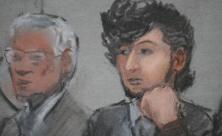 Accused Boston Marathon bomber Dzhokhar Tsarnaev is shown in a courtroom sketch on the first day of jury selection at the federal courthouse in Boston, Massachusetts January 5, 2015. Photo by Jane Flavell Collins/Reuters