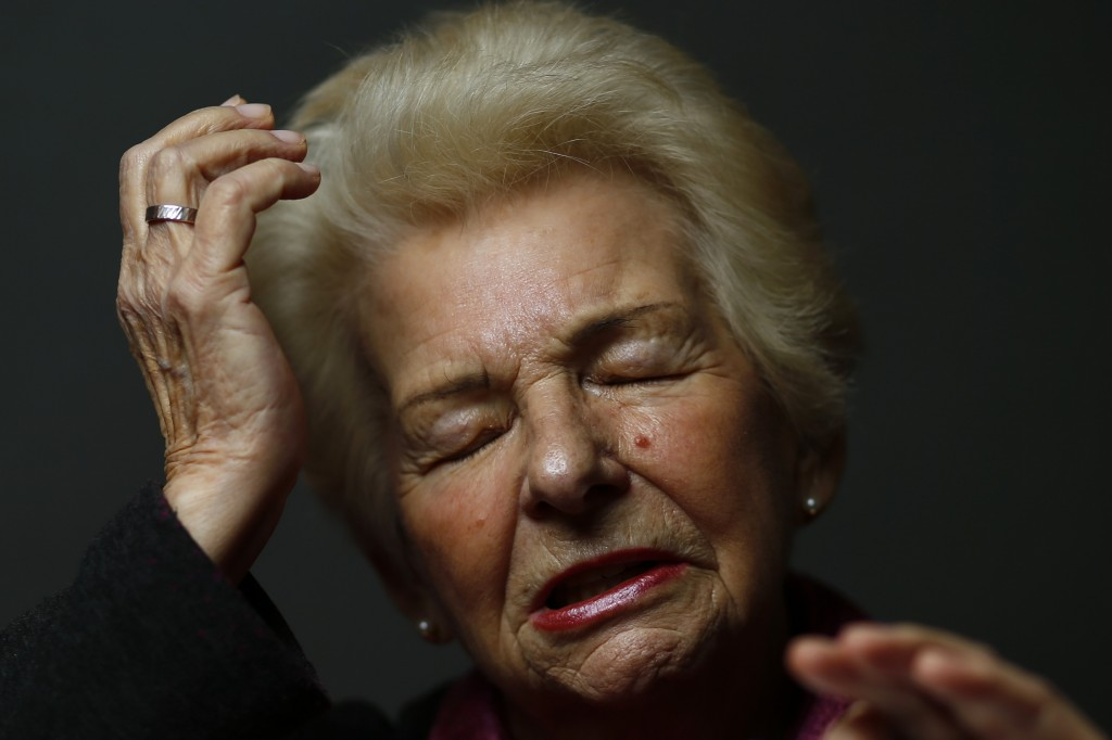 Auschwitz death camp survivor Halina Brzozowska poses for a portrait in Warsaw