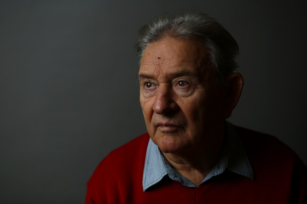 Auschwitz death camp survivor Bogdan Bartnikowski poses for a portrait in Warsaw