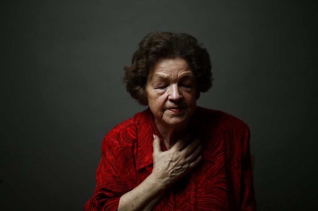 Auschwitz death camp survivor Danuta Bogdaniuk-Bogucka poses for a portrait in Warsaw