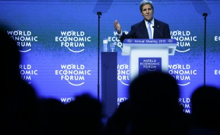 U.S. Secretary of State John Kerry makes a special address at the World Economic Forum in the Swiss mountain resort of Davos Jan. 23, 2015. Photo by Ruben Sprich/Reuters