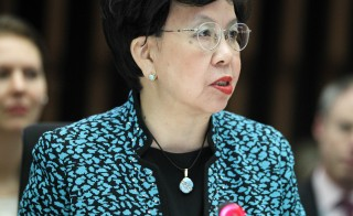 World Health Organization (WHO) Director-General Margaret Chan addresses the media during a special meeting on Ebola in Geneva on Jan. 25, 2015. Photo by Pierre Albouy/REUTERS.