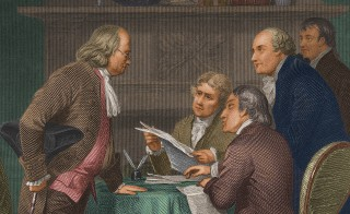 1776: The drafting of the Declaration of Independence in Colonial America. From left to right: Benjamin Franklin, Thomas Jefferson, John Adams, Robert Livingston and Roger Sherman. (Photo by Stock Montage/Stock Montage/Getty Images)