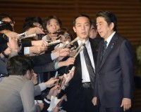 Japan's PM Abe speaks to the media at his official residence in Tokyo
