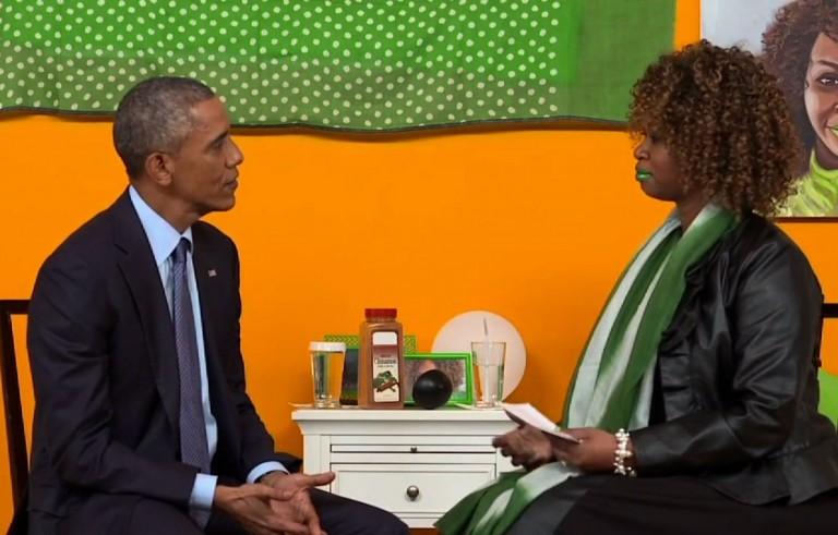 President Barack Obama speaks with GloZell Green.