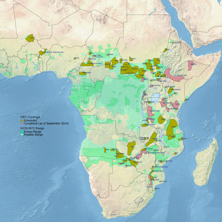 Areas that will be surveyed by air over the course of the Census project, which is expected to be completed in 2015. Credit: Great Elephant Census