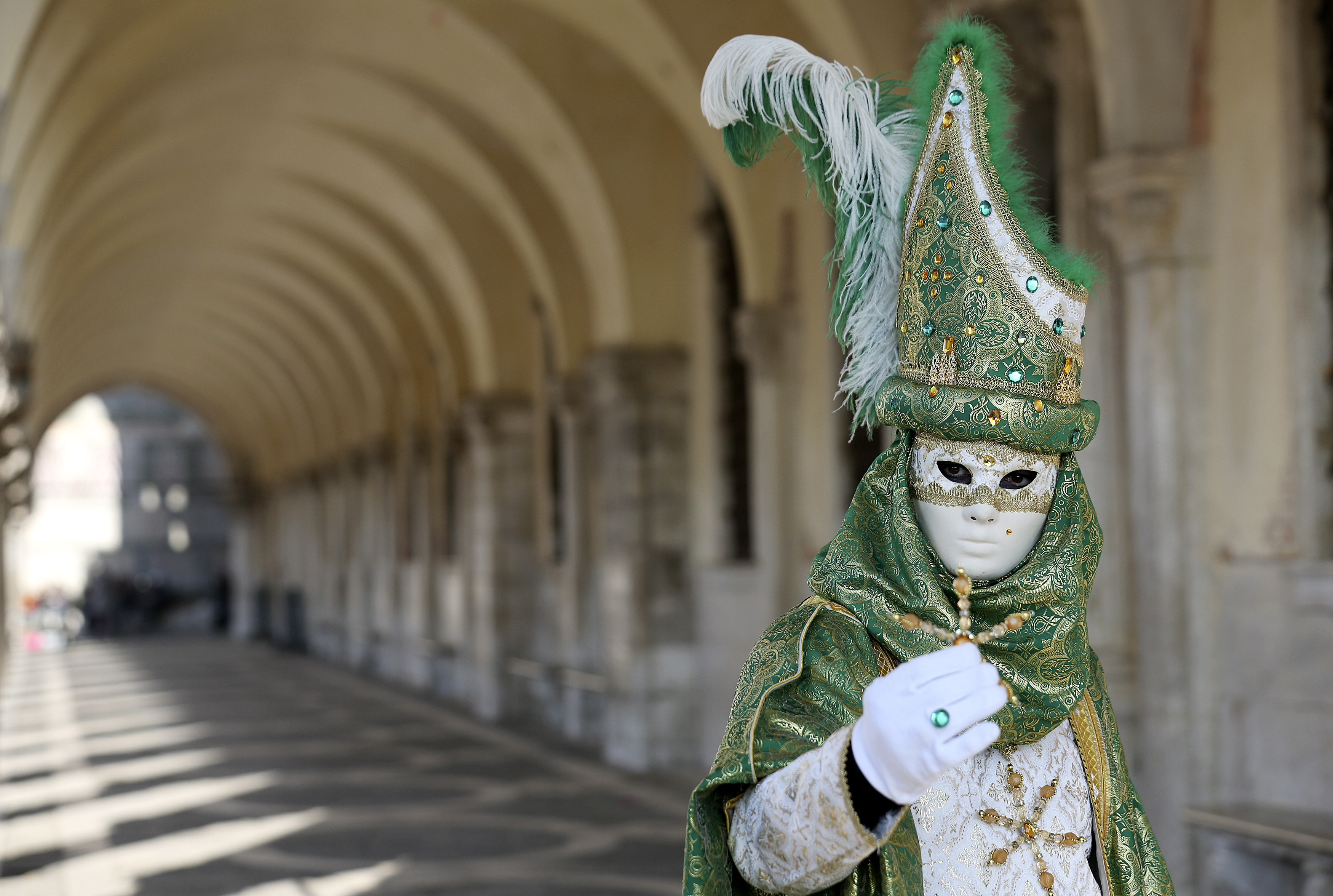 A masked reveler poses in Saint Mark square during carnival in Venice February 8, 2015. Photo by Stefano Rellandini/REUTERS