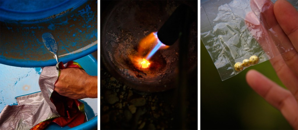 Miners extract gold flakes with mercury and then burn away the liquid metal leaving only gold behind. Photos by Larry C. Price