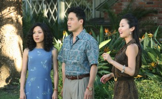 "Constance Wu, left, and Randall Park, center, star in ABC's ""Fresh Off the Boat."" Susan Park, right, guest stars. Photo by Gilles Mingasson/ABC via Getty Images"