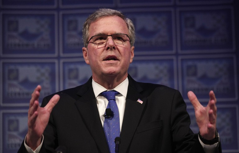 Former Florida Gov. Jeb Bush speaks at the Detroit Economic Club in Michigan on Feb. 4. Dispute over end-of-life procedures that marked Jeb Bush's time in office is may prove to become an issue for the 2016 election. Photo by Bill Pugliano/Getty Images