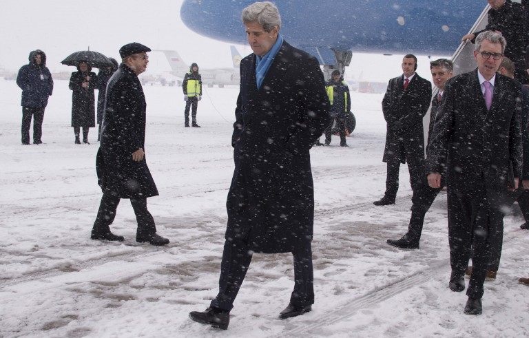 Secretary of State John Kerry walks off the plane at Kiev Boryspil International Airport in Ukraine on Feb. 5. Photo by Jim Watson/AFP/Getty Images