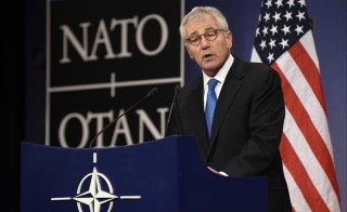 U.S. Defense Secretary Chuck Hagel speaks at a meeting of defense ministers at NATO headquarters in Brussels on Feb. 5. Photo by John Thys/AFP/Getty Images
