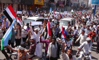 Demonstrators protest against the Ansarullah Movement's (Houthis) involvement in country policy in Al Hudaydah, a city in western Yemen, on Feb. 6. Photo by Stringer/Anadolu Agency/Getty Images