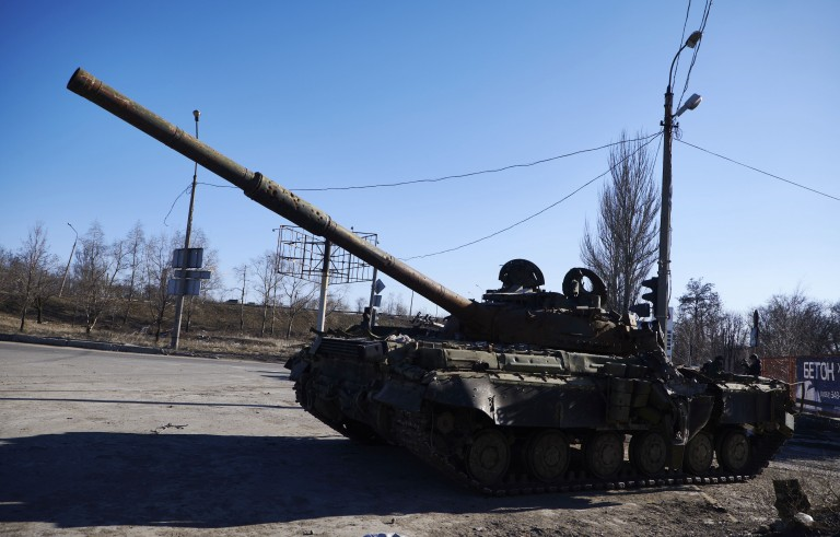 Destroyed Ukrainian military armored vehicles are seen on the northern outskirts of Donetsk in eastern Ukraine on Feb. 17. Despite a ceasefire, which began on Sunday, artillery shelling was heard in the nearby town of Debaltseve. Photo by Pierre Crom/Getty Images