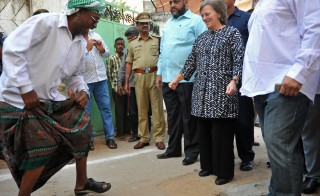 File photo of then-U.S. Consul General Katherine Dhanani (second from right) visiting the Barkas area in the old city of Hyderabad, India, on Nov. 30, 2010. Dhanani was nominated on Feb. 24, 2015, to be the U.S. ambassador to Somalia. Photo by Noah Seelam/AFP/Getty Images