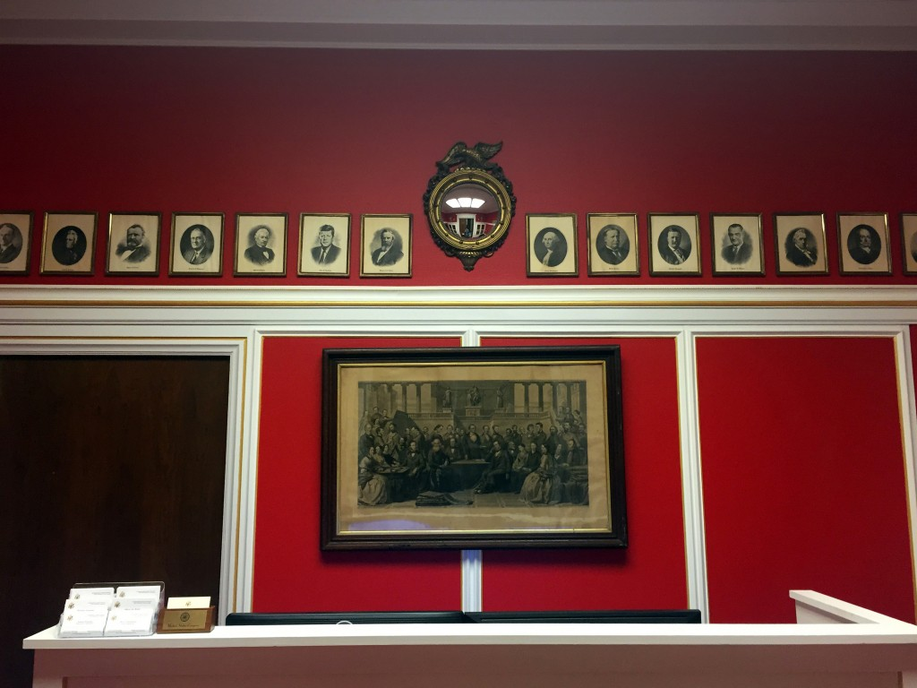 "WASHINGTON, DC - JANUARY 30: Photos of Rep. Aaron Schock's (R-IL) new office in the Rayburn Office Building, which was designed to resemble the dining room of the PBS show ""Downton Abbey,"" on January 30, 2015 in Washington, DC. The interior decorator owns a company called Euro Trash LLC. (Photo by Ben Terris/The Washington Post via Getty Images)"
