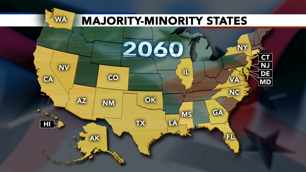 Currently, just four states are majority-minority, places where non-whites are a greater percentage of the population than whites — California, Hawaii, New Mexico and Texas. But by 2060, that will jump to 22 states. Graphic by NewsHour