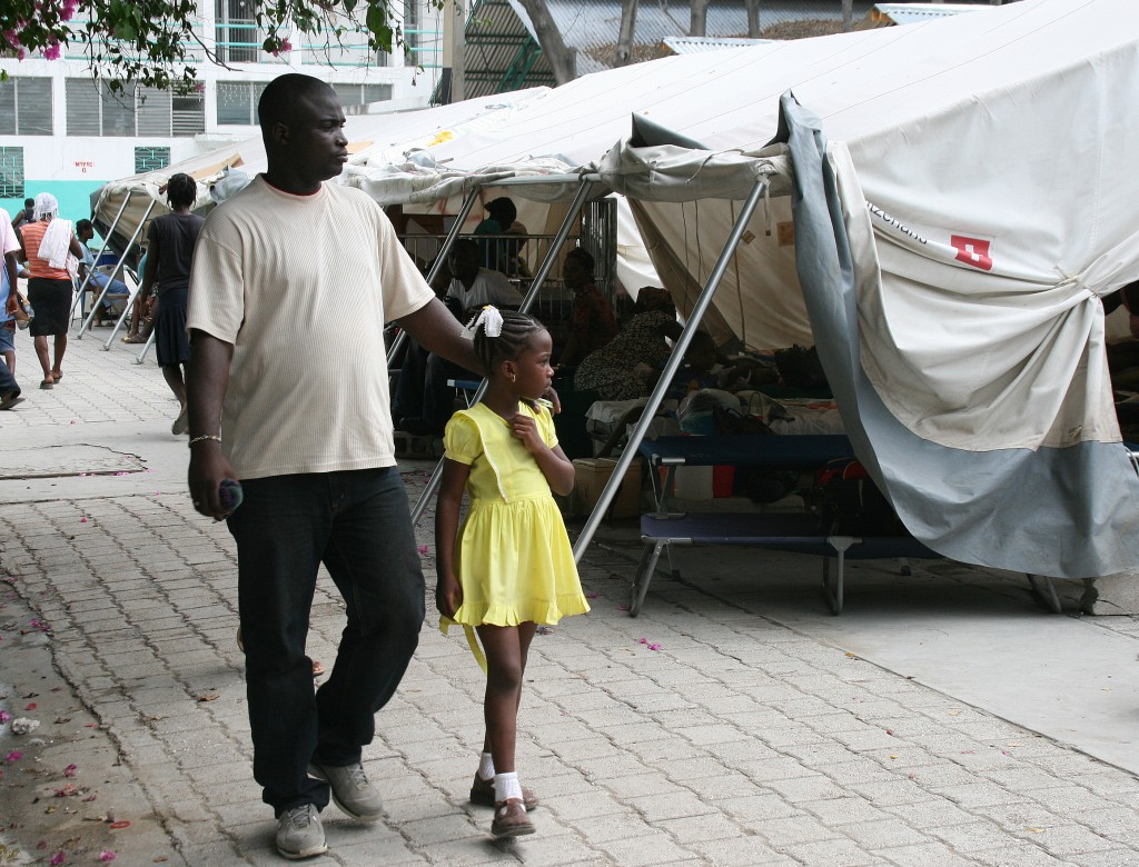 While most services at Port au Prince's general hospital have returned indoors, the pediatric ward is still located in large tents.