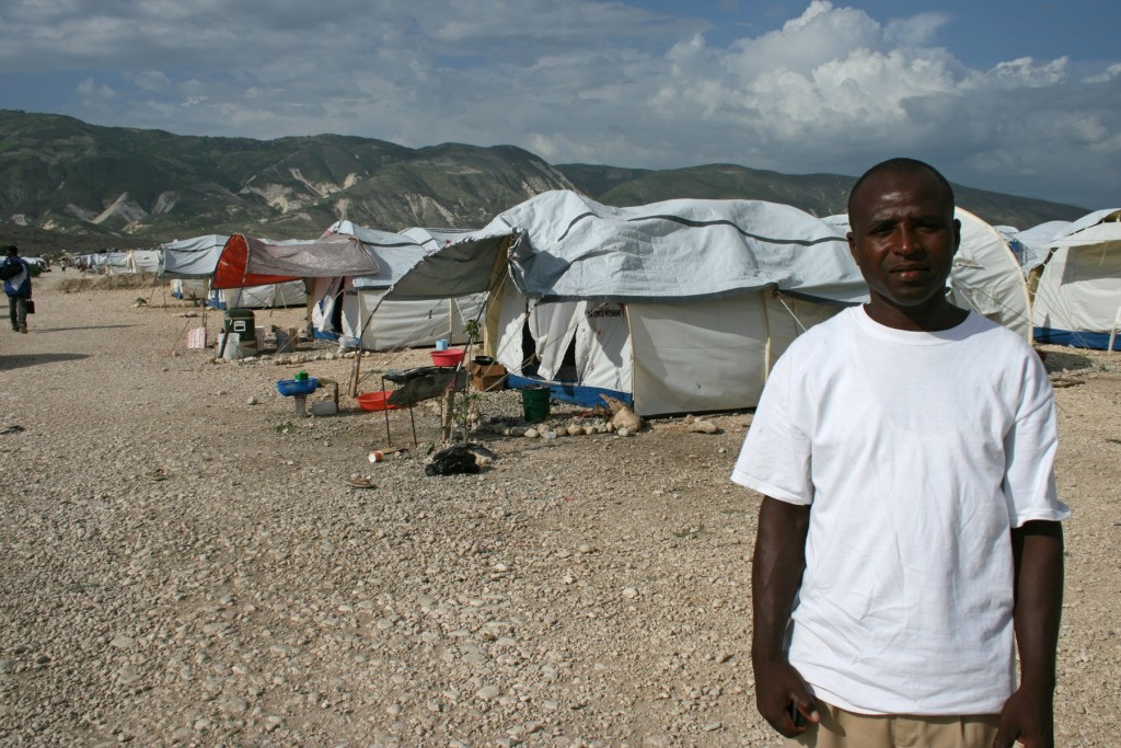 Some problems remain Edouard Simeon said the camp is peaceful and better organized, but when it rains water still floods the tents.