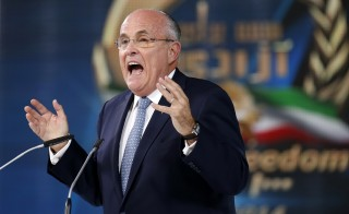 Former New York City Mayor Rudolph Giuliani takes part in a rally in Villepinte, near Paris June 27, 2014. Homeland Security Secretary Jeh Johnson says he's disappointed in former New York Mayor Rudy Giuliani. Photo by Benoit Tessier/REUTERS.