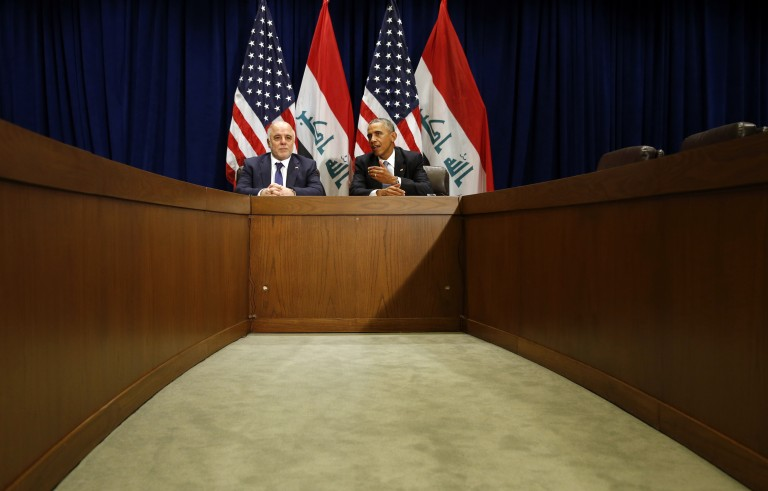U.S. President Barack Obama meets with Iraqi Prime Minister Haider al-Abadi during the United Nations General Assembly in New York on Sept. 24, 2014.  World leaders gathered in New York then to tackle, among other crises, the violence Islamic State militants are wreaking in Iraq and Syria. Photo by Kevin Lamarque/Reuters