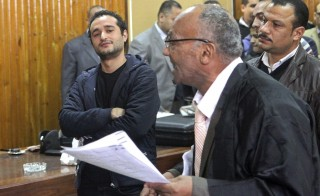 Egyptian political activist Ahmed Douma attends his trial in Cairo on Feb. 4. Photo by Reuters/Al Youm Al Saabi Newspaper