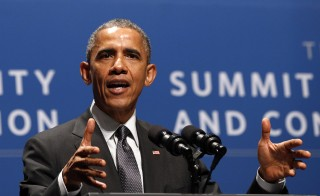 U.S. President Barack Obama spoke at the Summit on Cybersecurity and Consumer Protection at Stanford University on Feb. 13, 2015. Obama is calling for a public debate on data encryption following the recent hacking of companies like Target and Sony. Photo by Kevin Lamarque /REUTERS