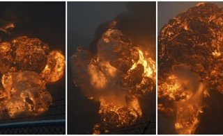 A combination photo shows a sequence of an explosion erupting from a CSX Corp train derailment in Mount Carbon, West Virginia pictured across the Kanawha River in Boomer, West Virginia February 16, 2015. Photo by Steve Keenan/Reuters