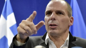 Greece's Finance Minister Varoufakis gives a news conference after an extraordinary euro zone finance ministers meeting in Brussels