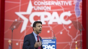 Governor Bobby Jindal arrives to speak at the 42nd annual Conservative Political Action Conference in Maryland