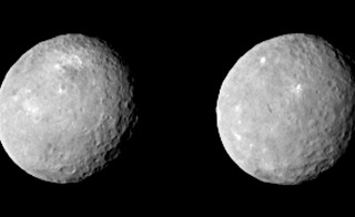 NASA's Dawn spacecraft captured these two views of Ceres on Feb. 12, 2015, from a distance of about 52,000 miles (83,000 kilometers) as the dwarf planet rotated. The images have been magnified from their original size. Image courtesy of NASA/JPL-Caltech/UCLA/MPS/DLR/IDA