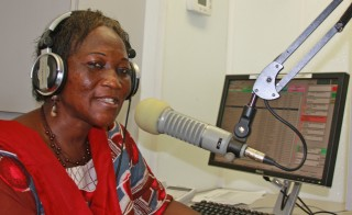 Radio is a popular means of getting information in South Sudan, where electricity is spotty and the literacy rate is low. Photo of Hellen Samuel courtesy of Eye Radio in South Sudan