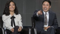 "Cast members Park and Wu attend a panel for the television series ""Fresh Off the Boat"" during the Disney ABC Television Critics Association winter press tour in Pasadena"