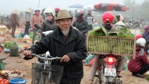 A man navigates a vegetable and meat market in the mountainous Dien Bien Phu Province in Vietnam. Photo by Larisa Epatko/PBS NewsHour