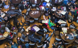 "Student activists stage a 'die-in' as part of the nationwide ""Hands up, walk out"" protest, demanding justice for the fatal Aug. 9 shooting of 18-year-old Michael Brown, at Washington University in St. Louis December 1, 2014. Police officer Darren Wilson fatally shot Brown during an Aug. 9 confrontation in Ferguson, Missouri, about 12 miles outside St. Louis, which set off a national debate on race and policing. Photo by Adrees Latif/Reuters"