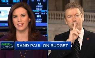 CNBC's Closing Bell co-anchor Kelly Evans is shushed by Sen. Rand Paul (R-KY). Photo from CNBC
