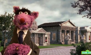 Screen image from Sesame Street: House of Bricks (House of Cards Parody)