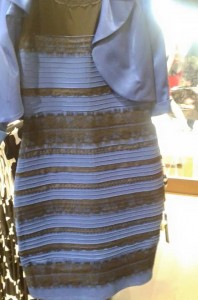 Scottish musician Caitlin McNeill and her band were arguing over what color this dress is. She posted the photo on Tumblr and the internet quickly divided into two camps: those who saw blue and black and those who saw white and gold. Image courtesy Tumblr/swiked