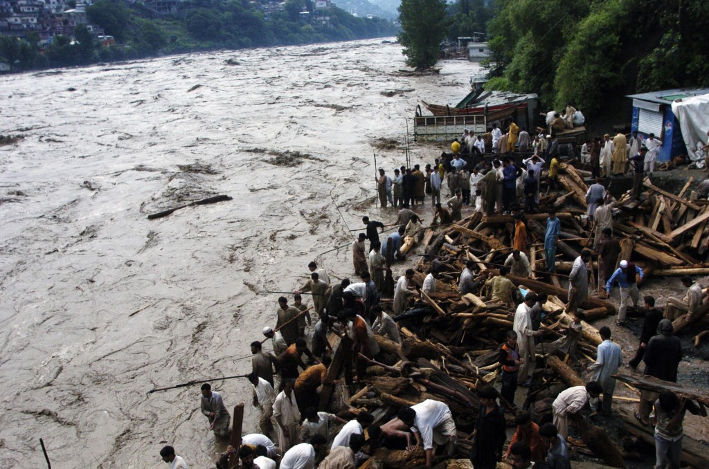 Flooded river Torrential rains beginning last week triggered flash floods around Pakistan. AFP/Getty