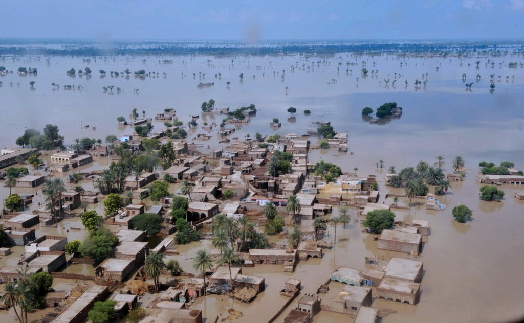 Floodwaters Spread An aerial view of the flooding in Pakistan over the area of Jacobabad. AFP/Getty Images
