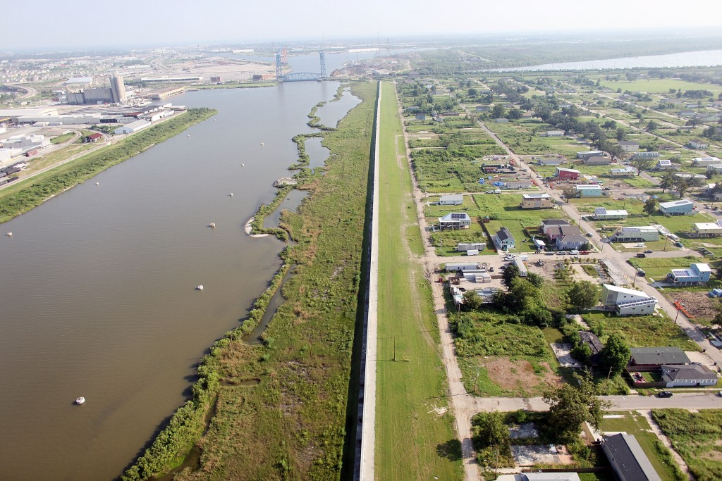The New Levee Wall The repaired Industrial Canal levee wall stretches alongside the Lower Ninth Ward, on August 24, 2010. (Photo by Mario Tama/Getty Images)