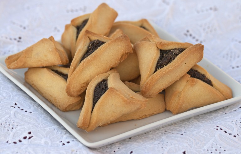 Hamantacshen cookies with a poppy filling. Photo by Getty Images.