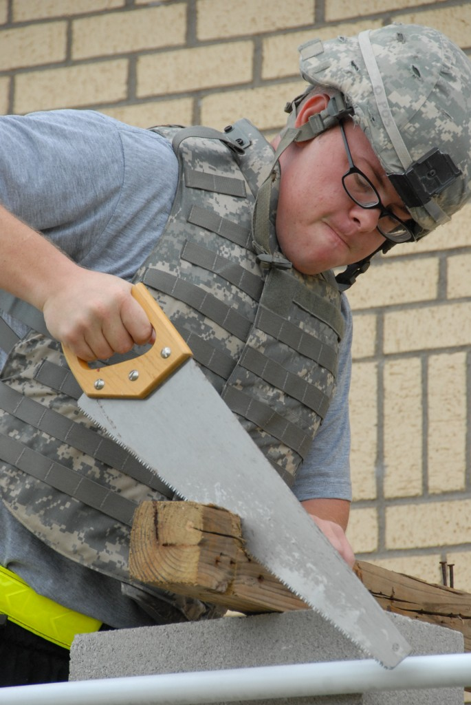 A soldier participates in occupational therapy at Fort Hood. Photo by Daniel Sagalyn