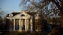 The Phi Kappa Psi fraternity building at University of Virginia was the site of an alleged gang rape of a university student as described in a Dec. 2014 Rolling Stone article, which has since come under scrutiny. A police investigation, however, was unable to confirm the incident. Photo by Andrew Harrer/Bloomberg via Getty Images