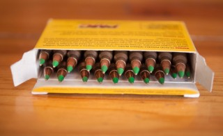 Green tipped armor-piercing 5.56 millimeter ammunition is shown on February 27, 2015 in Chicago, Illinois. The Obama administration has proposed banning the ammunition, which is popular among hunters and target shooters, because it can be used in pistols. Fear of a ban has caused a run on sales. (Photo Illustration by Scott Olson/Getty Images)