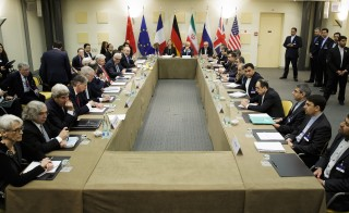 An overview shows a meeting with P5+1, European Union and Iranian officials during nuclear talks with Iran at the Beau Rivage Palace Hotel  in Lausanne on March 30, 2015. Photo by Thomas Trutschel/Photothek via Getty Images