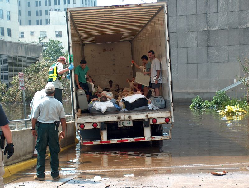 "18 Wheels Bryant-Penland explains: ""This is one of the 18-wheel trucks that was used to take some of our non-critical patients along with nursing staff to care for them."" These patients were eventually taken via airplane to facilities that could care for them. -- Photo by Mooney Bryant-Penland"